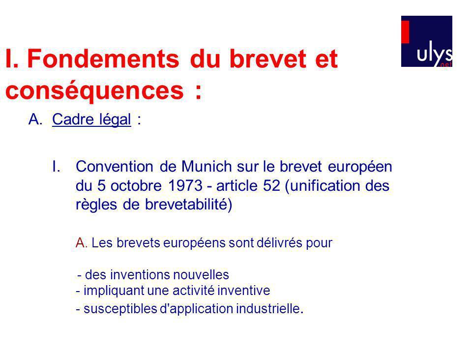 I. Fondements du brevet et conséquences : A.Cadre légal : I. Convention de Munich sur le brevet européen du 5 octobre 1973 - article 52 (unification d