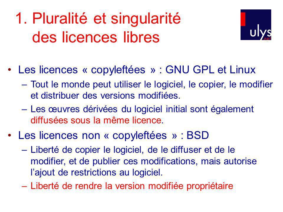 1. Pluralité et singularité des licences libres Les licences « copyleftées » : GNU GPL et Linux –Tout le monde peut utiliser le logiciel, le copier, l