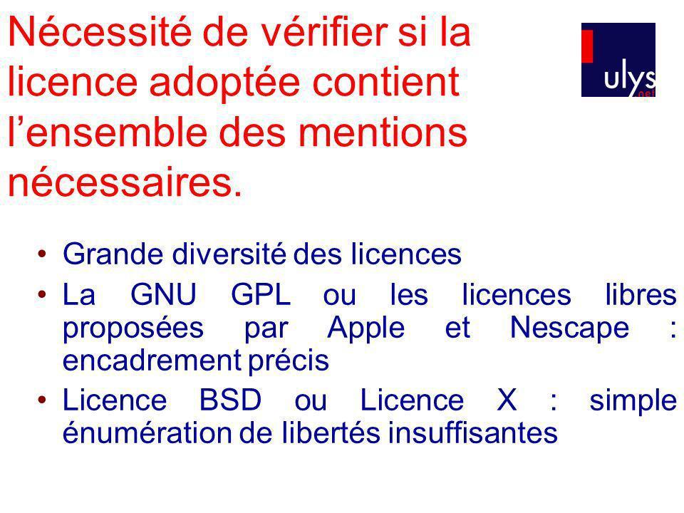 Nécessité de vérifier si la licence adoptée contient lensemble des mentions nécessaires. Grande diversité des licences La GNU GPL ou les licences libr