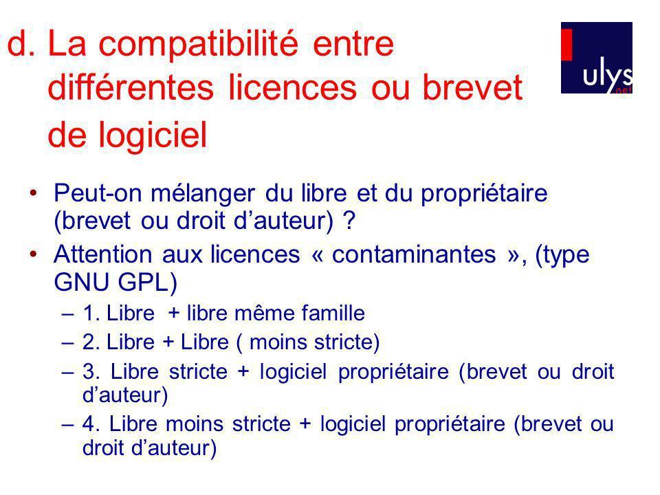 d. La compatibilité entre différentes licences ou brevet de logiciel Peut-on mélanger du libre et du propriétaire (brevet ou droit dauteur) ? Attentio