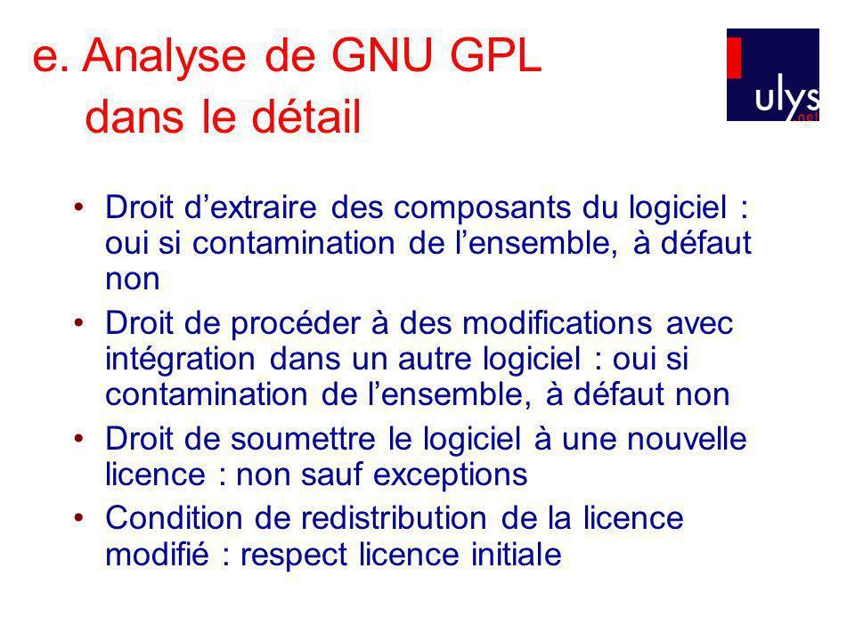 e. Analyse de GNU GPL dans le détail Droit dextraire des composants du logiciel : oui si contamination de lensemble, à défaut non Droit de procéder à