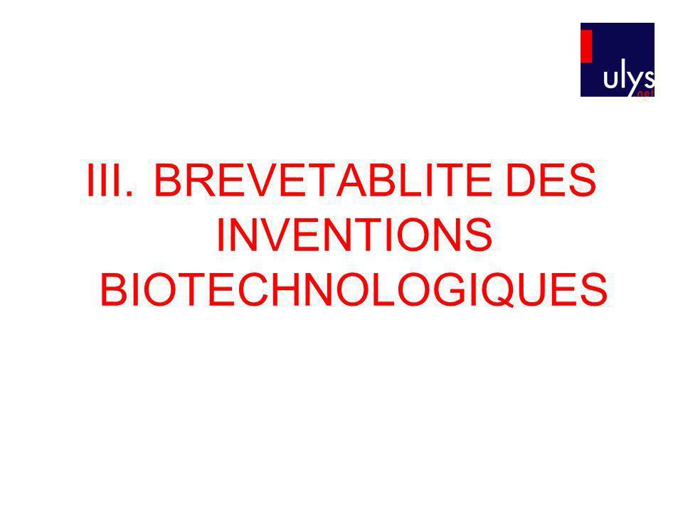 III.BREVETABLITE DES INVENTIONS BIOTECHNOLOGIQUES