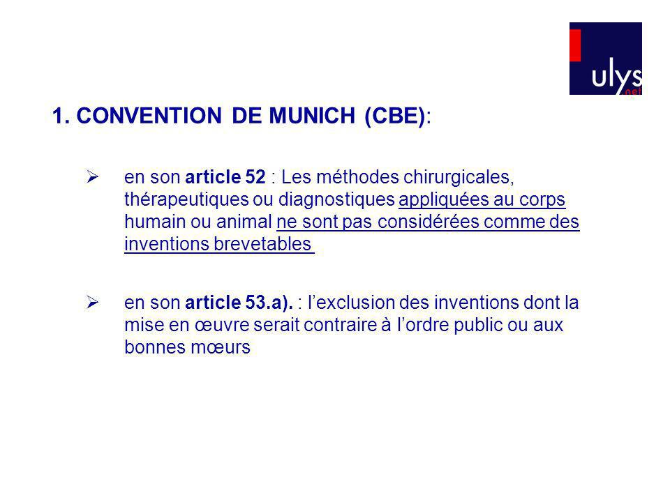 1. CONVENTION DE MUNICH (CBE): en son article 52 : Les méthodes chirurgicales, thérapeutiques ou diagnostiques appliquées au corps humain ou animal ne