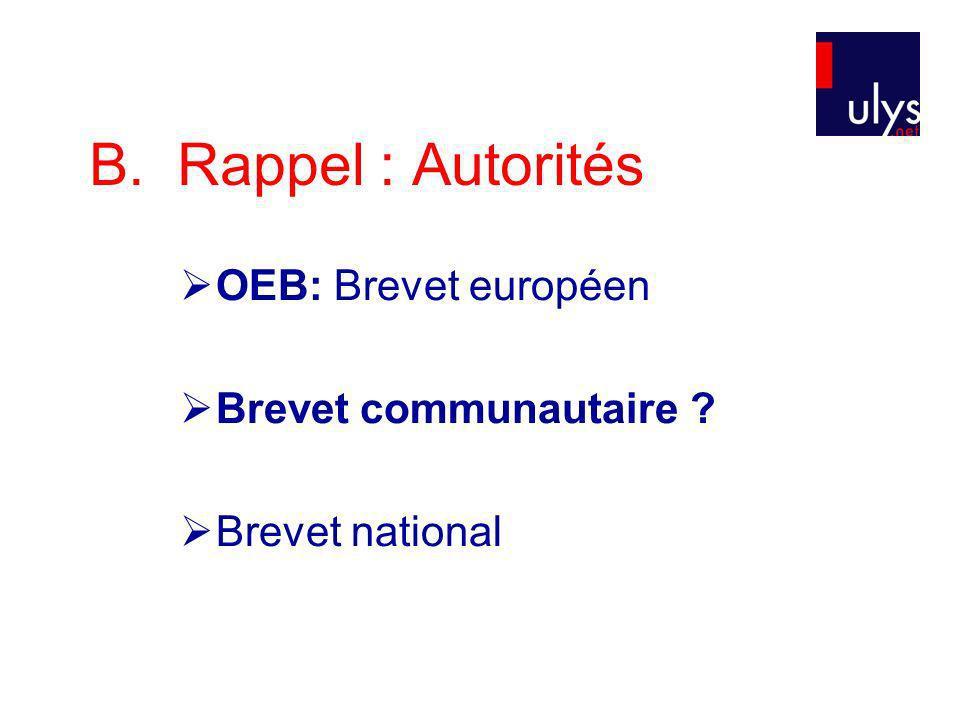 B. Rappel : Autorités OEB: Brevet européen Brevet communautaire ? Brevet national