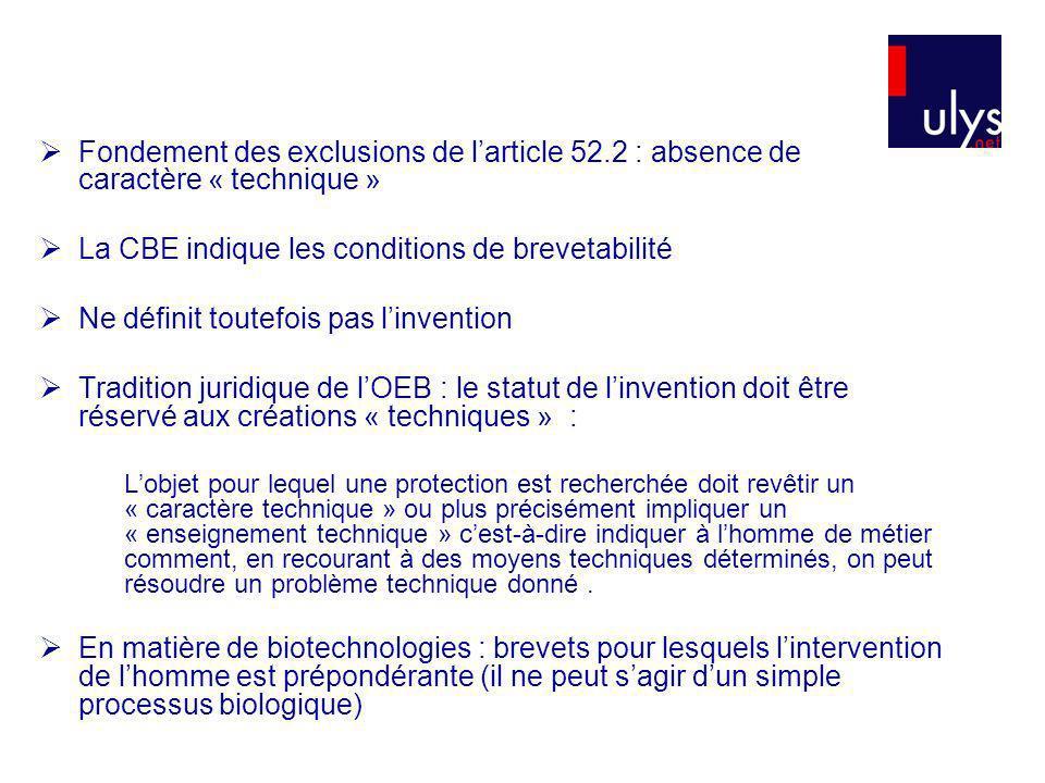 Fondement des exclusions de larticle 52.2 : absence de caractère « technique » La CBE indique les conditions de brevetabilité Ne définit toutefois pas