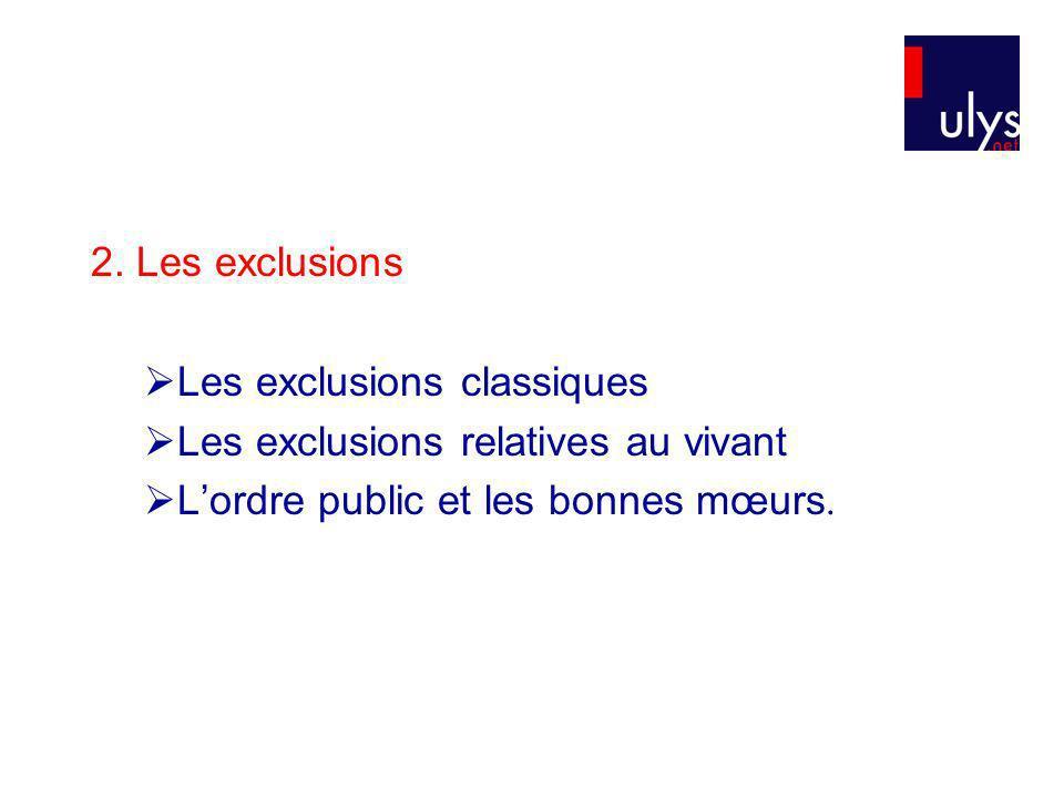 2. Les exclusions Les exclusions classiques Les exclusions relatives au vivant Lordre public et les bonnes mœurs.