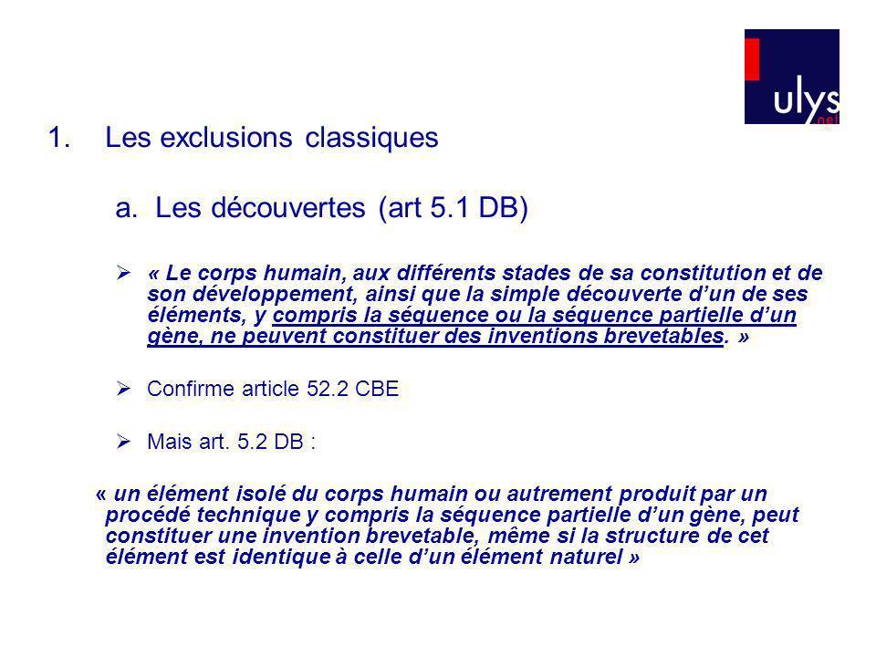 1.Les exclusions classiques a. Les découvertes (art 5.1 DB) « Le corps humain, aux différents stades de sa constitution et de son développement, ainsi
