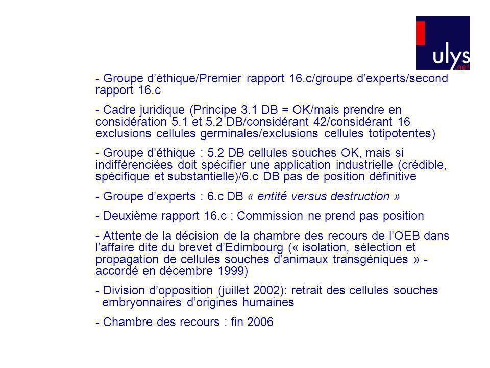 - Groupe déthique/Premier rapport 16.c/groupe dexperts/second rapport 16.c - Cadre juridique (Principe 3.1 DB = OK/mais prendre en considération 5.1 e