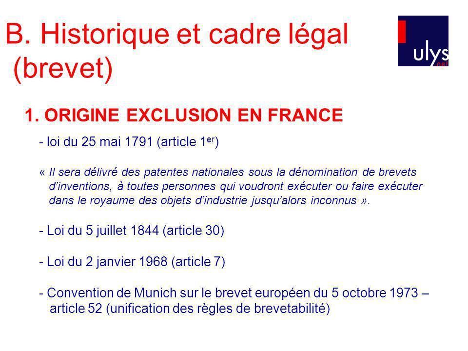 B. Historique et cadre légal (brevet) 1. ORIGINE EXCLUSION EN FRANCE - loi du 25 mai 1791 (article 1 er ) « Il sera délivré des patentes nationales so