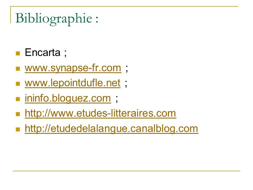 Bibliographie : Encarta ; www.synapse-fr.com ; www.synapse-fr.com www.lepointdufle.net ; www.lepointdufle.net ininfo.bloguez.com ; ininfo.bloguez.com http://www.etudes-litteraires.com http://etudedelalangue.canalblog.com