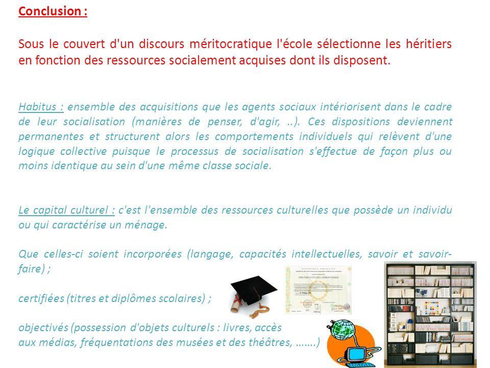 Conclusion : Sous le couvert d'un discours méritocratique l'école sélectionne les héritiers en fonction des ressources socialement acquises dont ils d