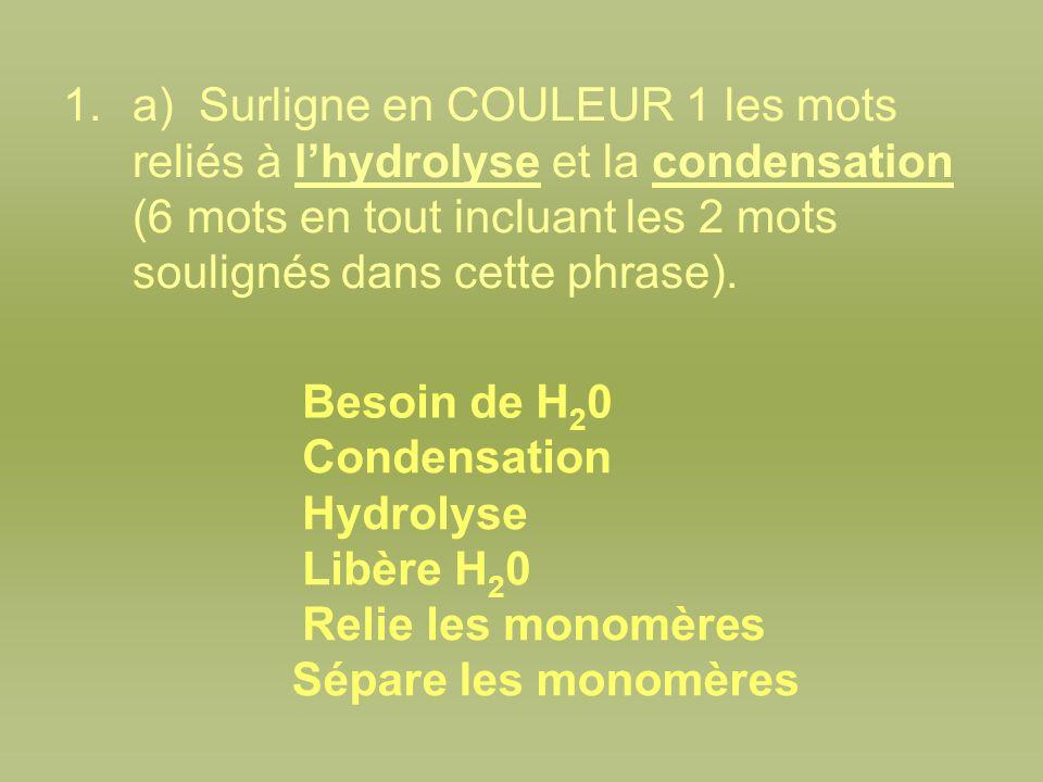 1.a) Surligne en COULEUR 1 les mots reliés à lhydrolyse et la condensation (6 mots en tout incluant les 2 mots soulignés dans cette phrase). Besoin de