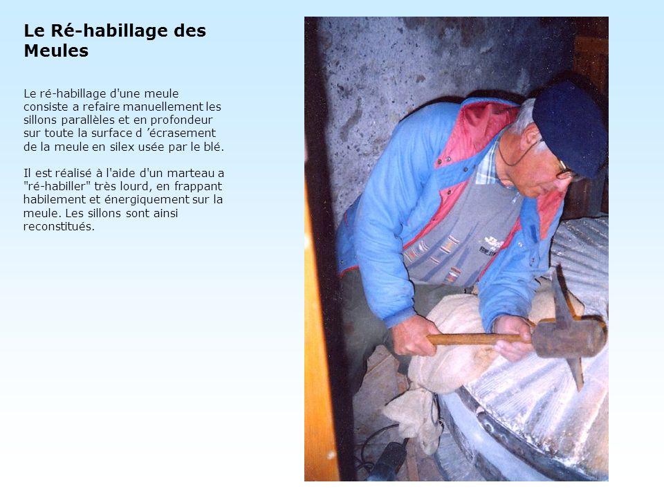 Le Ré-habillage des Meules Le ré-habillage d'une meule consiste a refaire manuellement les sillons parallèles et en profondeur sur toute la surface d