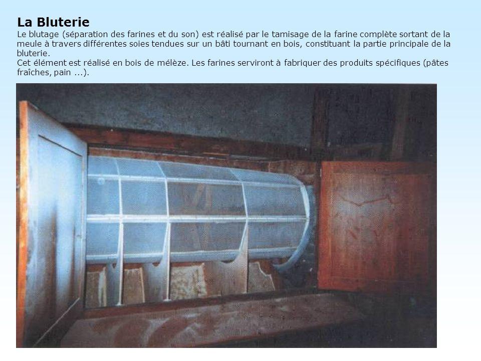 La Bluterie Le blutage (séparation des farines et du son) est réalisé par le tamisage de la farine complète sortant de la meule à travers différentes