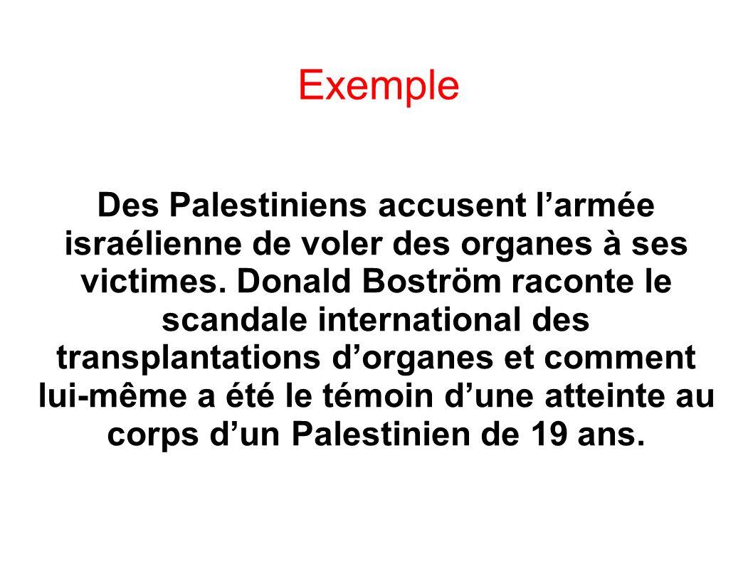 Exemple Des Palestiniens accusent larmée israélienne de voler des organes à ses victimes. Donald Boström raconte le scandale international des transpl