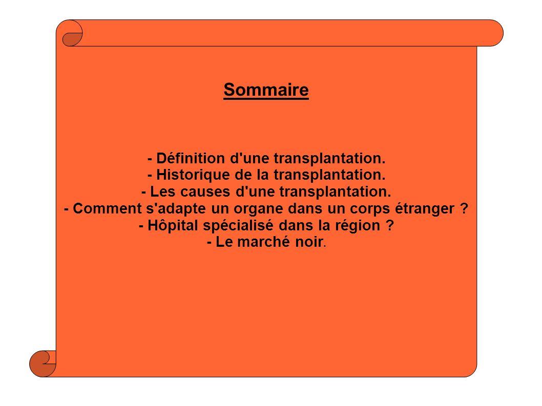 Sommaire - Définition d'une transplantation. - Historique de la transplantation. - Les causes d'une transplantation. - Comment s'adapte un organe dans