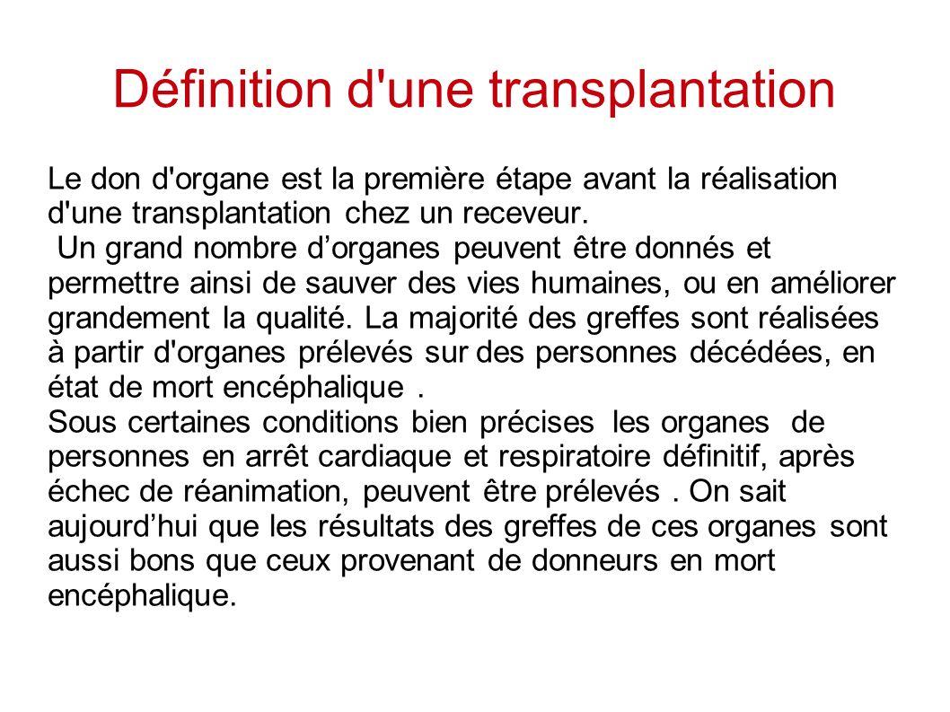 Définition d'une transplantation Le don d'organe est la première étape avant la réalisation d'une transplantation chez un receveur. Un grand nombre do