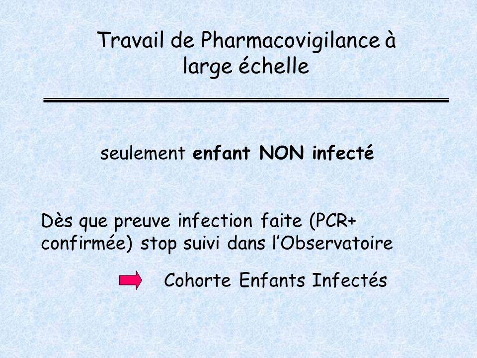 Dès que preuve infection faite (PCR+ confirmée) stop suivi dans lObservatoire Travail de Pharmacovigilance à large échelle Cohorte Enfants Infectés seulement enfant NON infecté