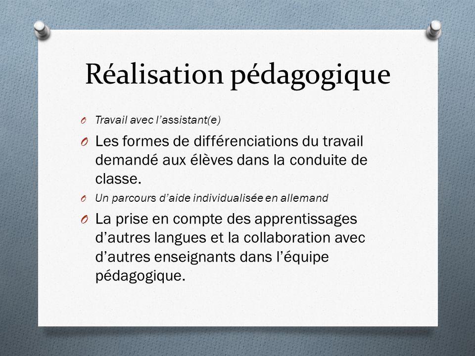 Réalisation pédagogique O Travail avec lassistant(e) O Les formes de différenciations du travail demandé aux élèves dans la conduite de classe.