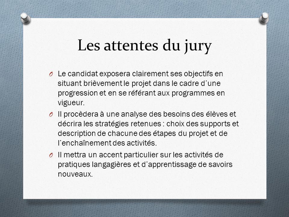 Les attentes du jury O Le candidat exposera clairement ses objectifs en situant brièvement le projet dans le cadre dune progression et en se référant aux programmes en vigueur.