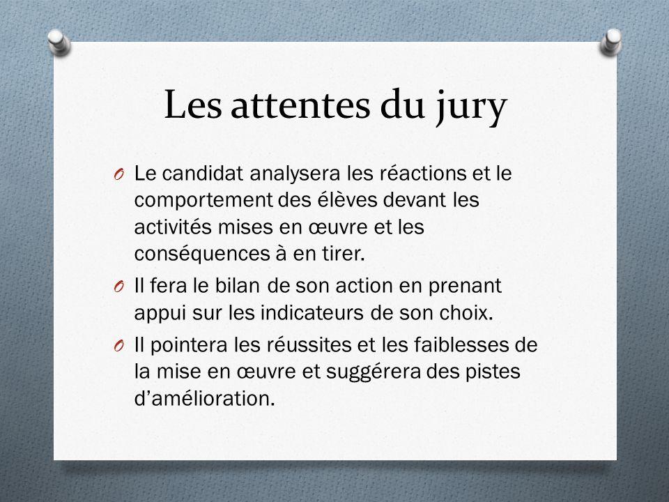 Les attentes du jury O Le candidat analysera les réactions et le comportement des élèves devant les activités mises en œuvre et les conséquences à en tirer.