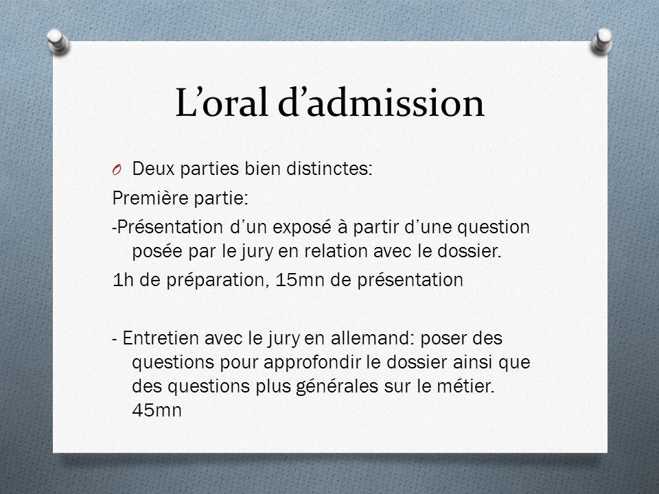 Loral dadmission O Deux parties bien distinctes: Première partie: -Présentation dun exposé à partir dune question posée par le jury en relation avec le dossier.