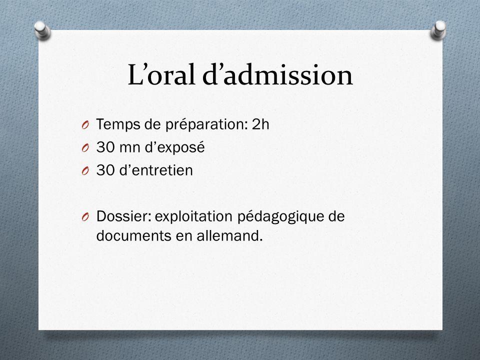Loral dadmission O Temps de préparation: 2h O 30 mn dexposé O 30 dentretien O Dossier: exploitation pédagogique de documents en allemand.