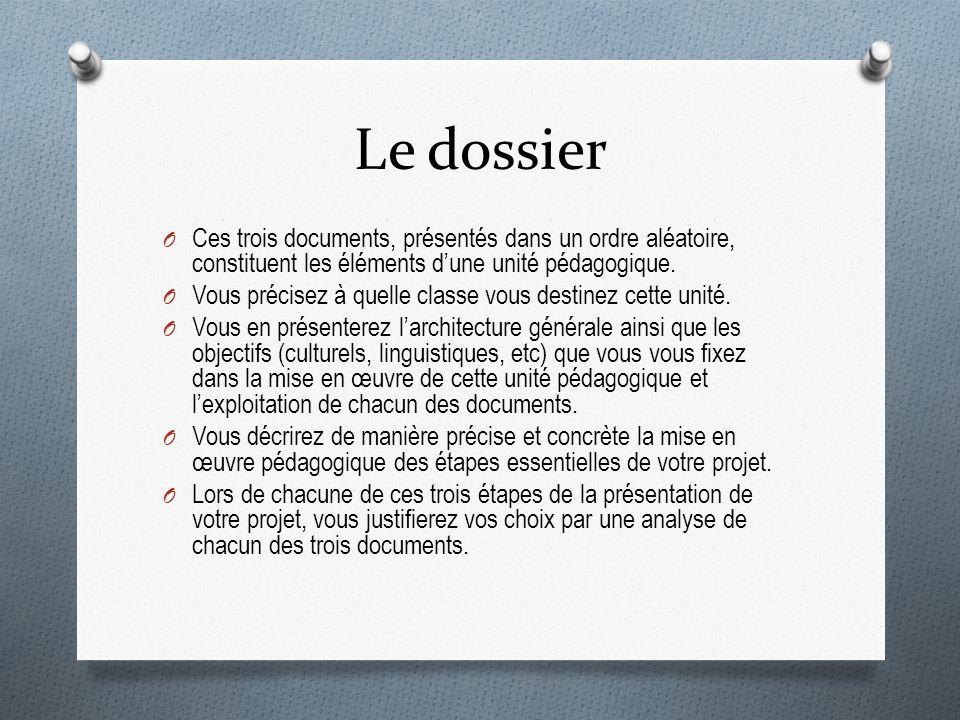 Le dossier O Ces trois documents, présentés dans un ordre aléatoire, constituent les éléments dune unité pédagogique.