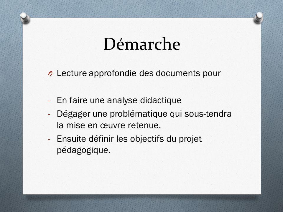 Démarche O Lecture approfondie des documents pour - En faire une analyse didactique - Dégager une problématique qui sous-tendra la mise en œuvre retenue.