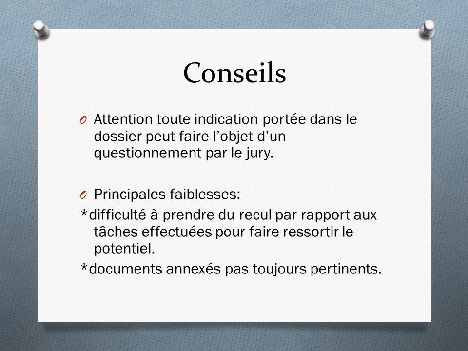 Conseils O Attention toute indication portée dans le dossier peut faire lobjet dun questionnement par le jury.