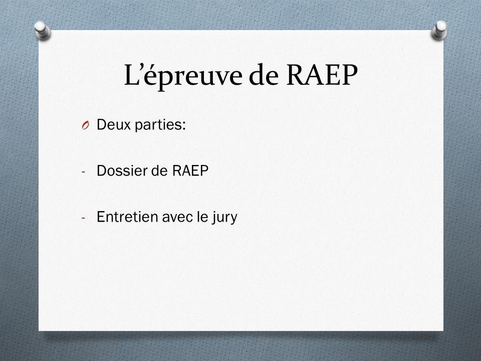 Lépreuve de RAEP O Deux parties: - Dossier de RAEP - Entretien avec le jury