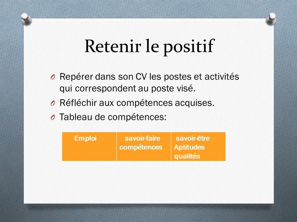 Retenir le positif O Repérer dans son CV les postes et activités qui correspondent au poste visé.
