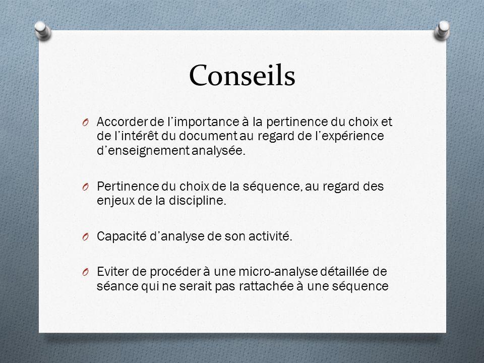 Conseils O Accorder de limportance à la pertinence du choix et de lintérêt du document au regard de lexpérience denseignement analysée.