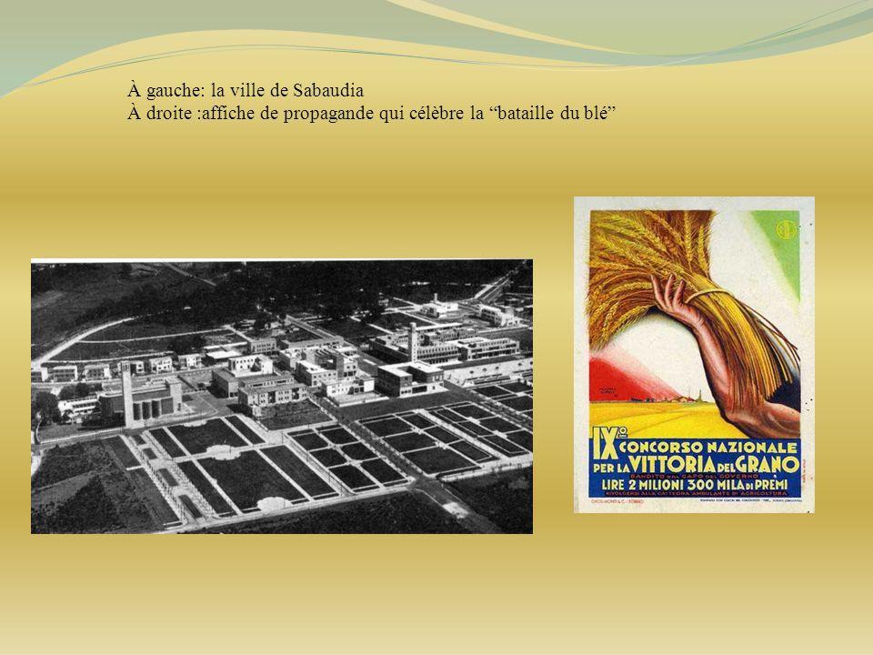 À gauche: la ville de Sabaudia À droite :affiche de propagande qui célèbre la bataille du blé