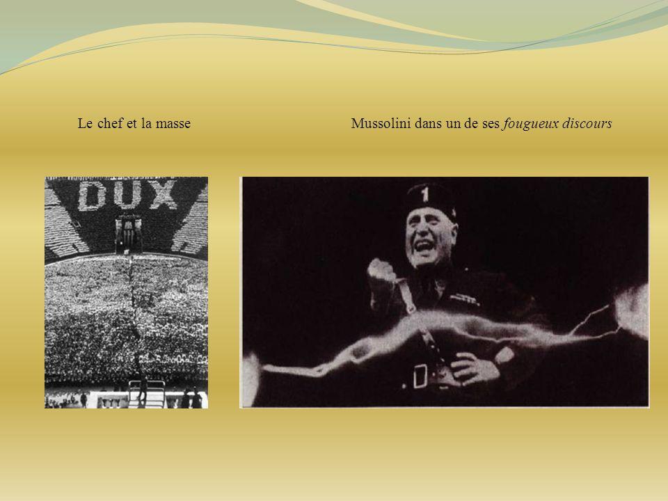 Le chef et la masse Mussolini dans un de ses fougueux discours