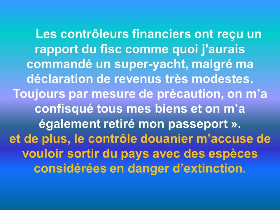 Les contrôleurs financiers ont reçu un rapport du fisc comme quoi j aurais commandé un super-yacht, malgré ma déclaration de revenus très modestes.