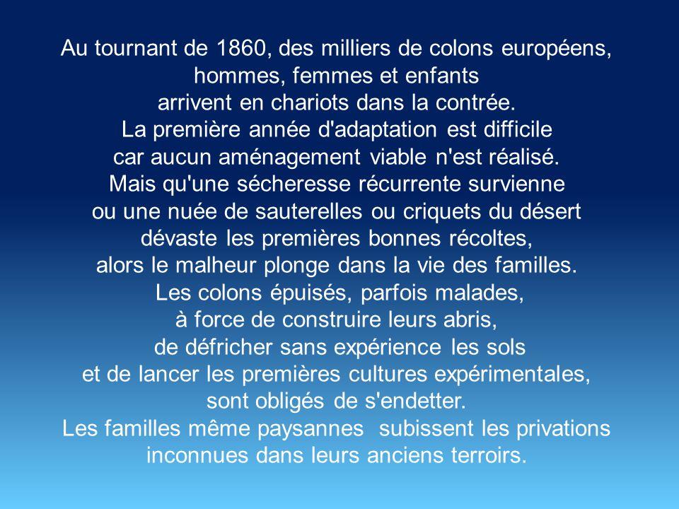 Napoléon III accueilli triomphalement par les militaires français et les chefs traditionnels algériens accentue la politique de mise en valeur des terres.