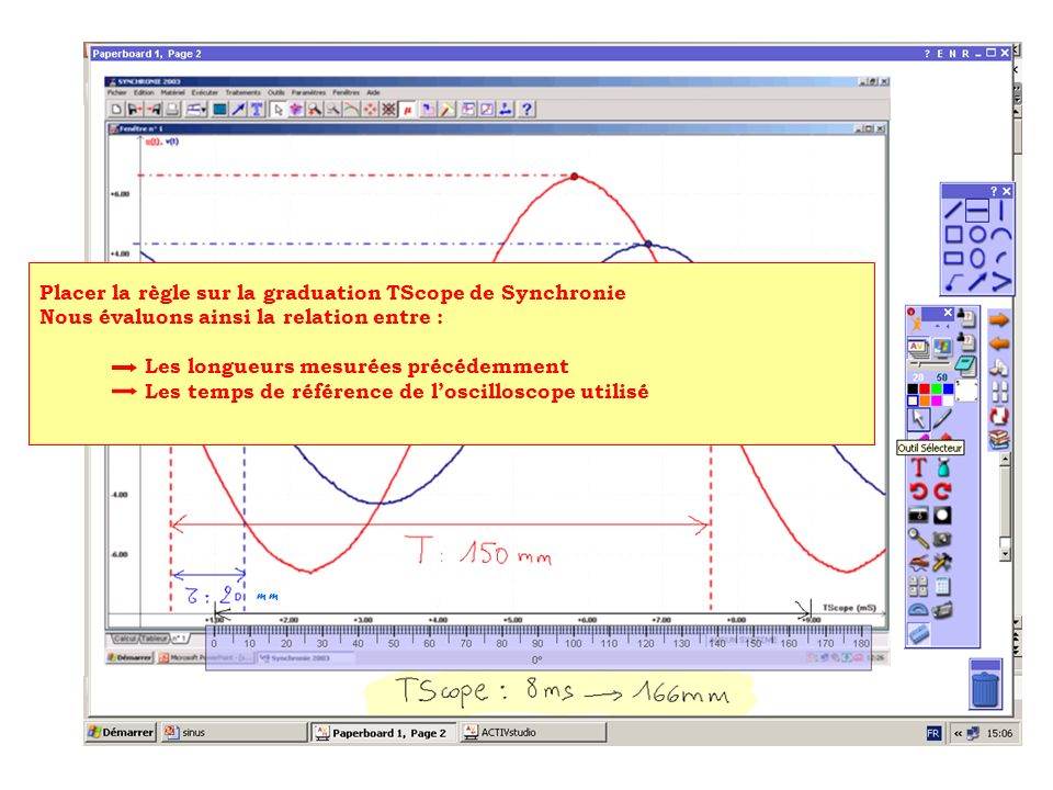 m Placer la règle sur la graduation TScope de Synchronie Nous évaluons ainsi la relation entre : Les longueurs mesurées précédemment Les temps de réfé
