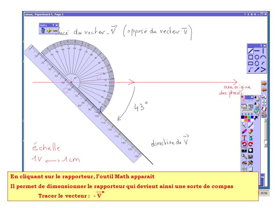 En cliquant sur le rapporteur, loutil Math apparaît Il permet de dimensionner le rapporteur qui devient ainsi une sorte de compas Tracer le vecteur :