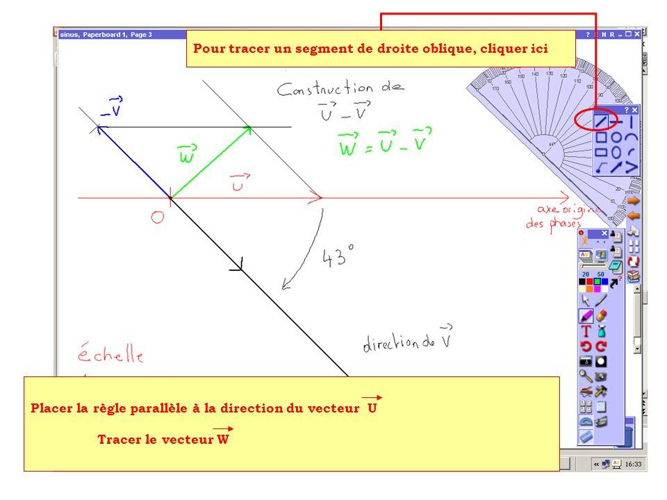 Placer la règle parallèle à la direction du vecteur U Tracer le vecteur W Pour tracer un segment de droite oblique, cliquer ici