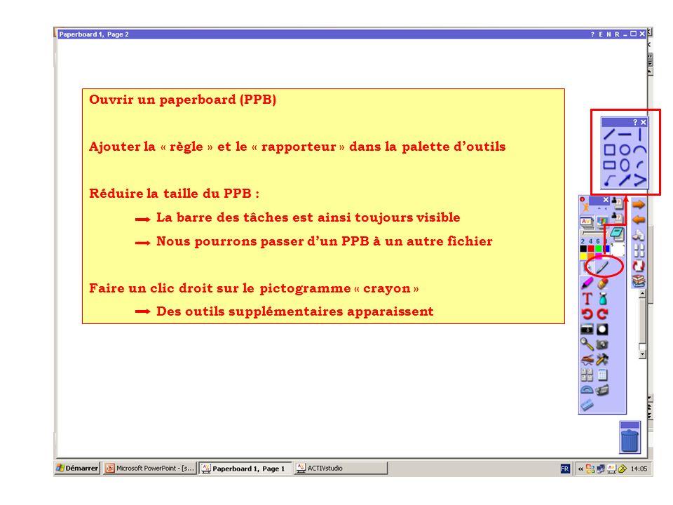 Ouvrir un paperboard (PPB) Ajouter la « règle » et le « rapporteur » dans la palette doutils Réduire la taille du PPB : La barre des tâches est ainsi