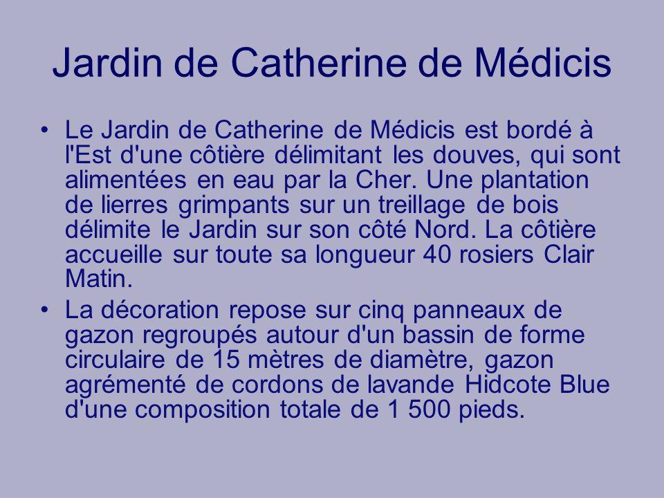 Jardin de Catherine de Médicis Le Jardin de Catherine de Médicis est bordé à l'Est d'une côtière délimitant les douves, qui sont alimentées en eau par