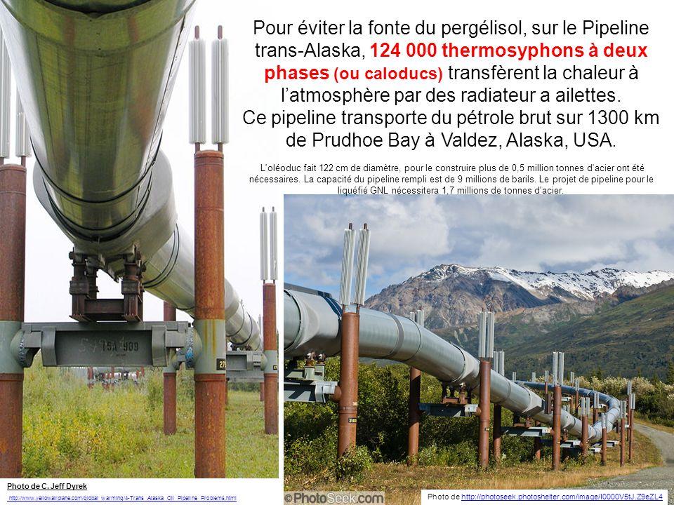 Refroidissement du Pergélisol Les supports de loléoduc trans-Alaska sont refroidis par des thermosiphons à deux phases (ou caloducs) afin que le pergélisol en dessous demeure congelé et que sa températures reste inférieure à 0°C (32°F) http://en.wikipedia.org/wiki/Heat_pipe Construire sur le pergélisol est difficile parce que la chaleur de la structure peut le dégeler.