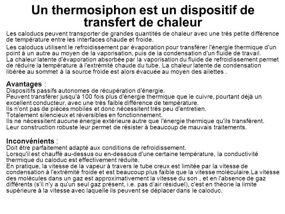 Un thermosiphon est un dispositif de transfert de chaleur Les caloducs peuvent transporter de grandes quantités de chaleur avec une très petite différ