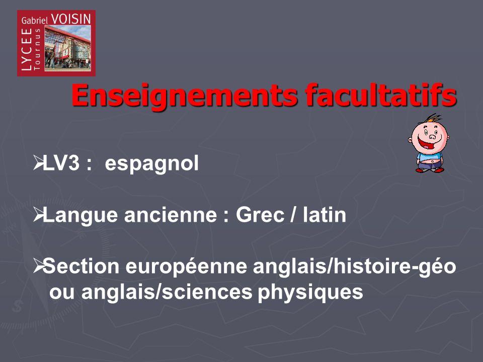 Enseignements facultatifs Enseignements facultatifs LV3 : espagnol Langue ancienne : Grec / latin Section européenne anglais/histoire-géo ou anglais/sciences physiques