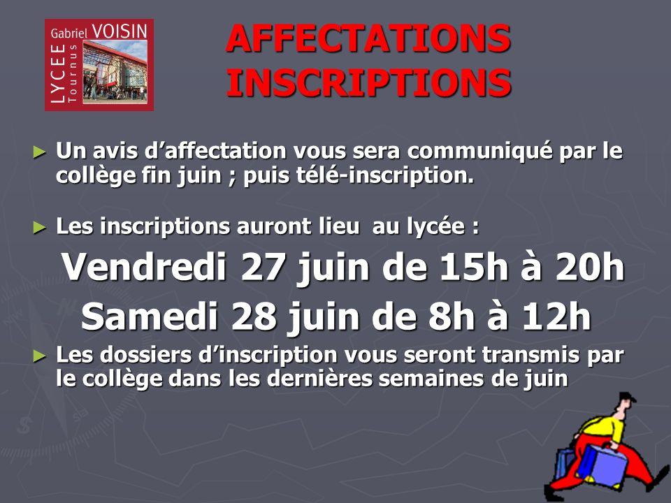 AFFECTATIONS INSCRIPTIONS AFFECTATIONS INSCRIPTIONS Un avis daffectation vous sera communiqué par le collège fin juin ; puis télé-inscription.