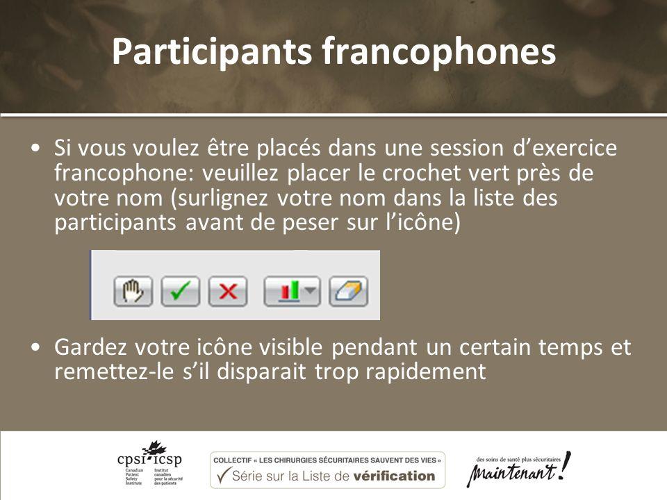 Participants francophones Si vous voulez être placés dans une session dexercice francophone: veuillez placer le crochet vert près de votre nom (surlignez votre nom dans la liste des participants avant de peser sur licône) Gardez votre icône visible pendant un certain temps et remettez-le sil disparait trop rapidement