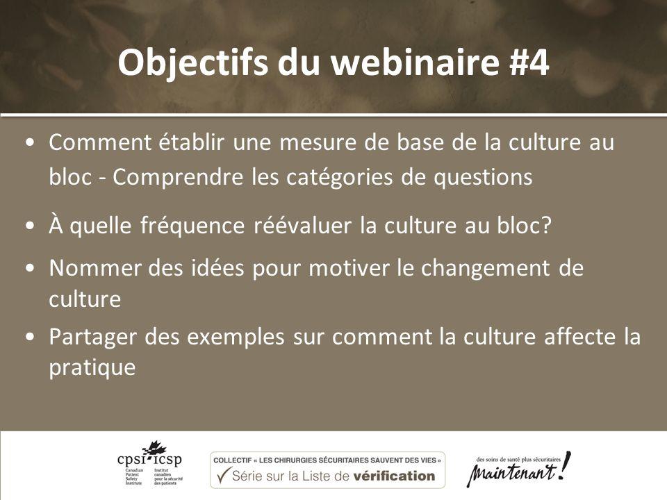 Objectifs du webinaire #4 Comment établir une mesure de base de la culture au bloc - Comprendre les catégories de questions À quelle fréquence réévaluer la culture au bloc.