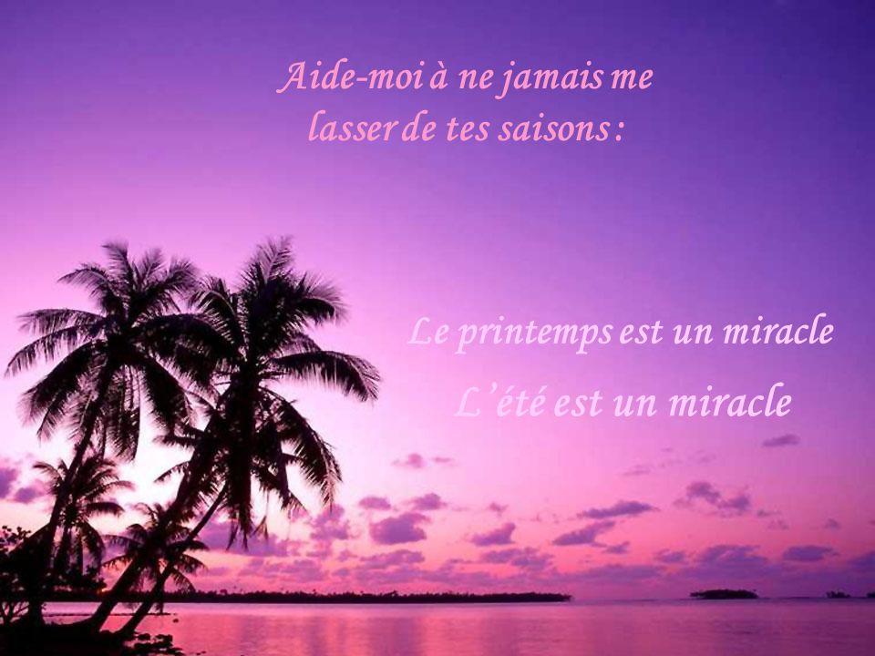 Laisse-moi jouir du miracle de chaque réveil, du miracle de savoir que je suis encore en vie, du miracle de respirer, de marcher et de penser, du miracle de ton amour et de ta miséricorde.