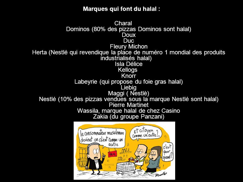 Marques qui font du halal : Charal Dominos (80% des pizzas Dominos sont halal) Doux Duc Fleury Michon Herta (Nestlé qui revendique la place de numéro 1 mondial des produits industrialisés halal) Isla Délice Kellogs Knorr Labeyrie (qui propose du foie gras halal) Liebig Maggi ( Nestlè) Nestlé (10% des pizzas vendues sous la marque Nestlé sont halal) Pierre Martinet Wassila, marque halal de chez Casino Zakia (du groupe Panzani)